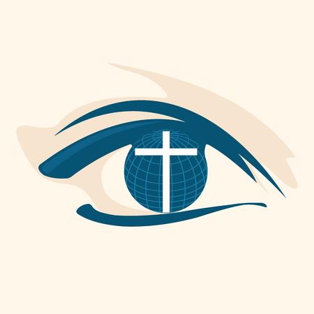 religion catolica: Mundo, mundo, cruz, ojo, la vista, la visión, la iglesia mundial, internacional. misiones, icono Vectores