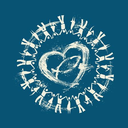 manos entrelazadas: La gente de la mano alrededor de un corazón y pescados de Jesús Vectores