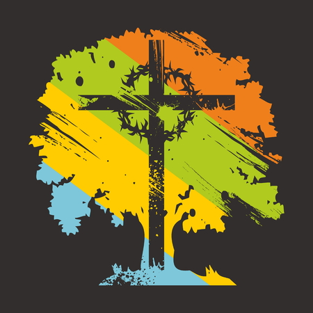 Cross, crown of thorns, on colorful tree Illustration