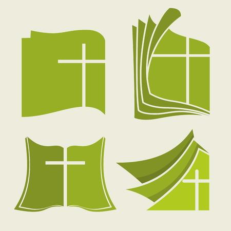 church worship: Set of bible logo