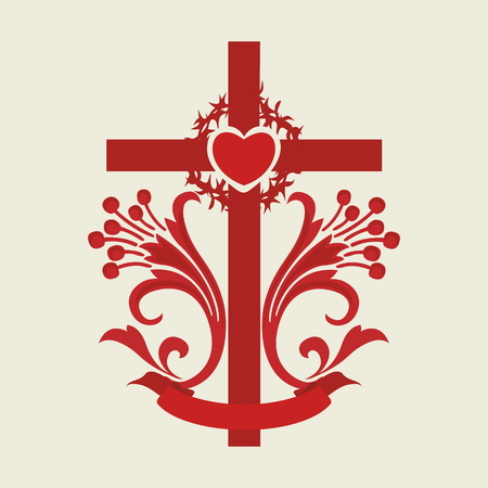 crown of thorns: Cross, lilies, heart, red, icon, crown of thorns Illustration