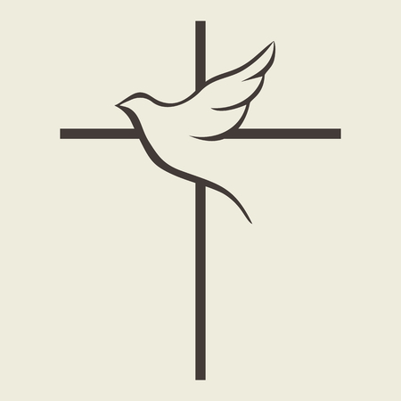 holy spirit: Dove and cross