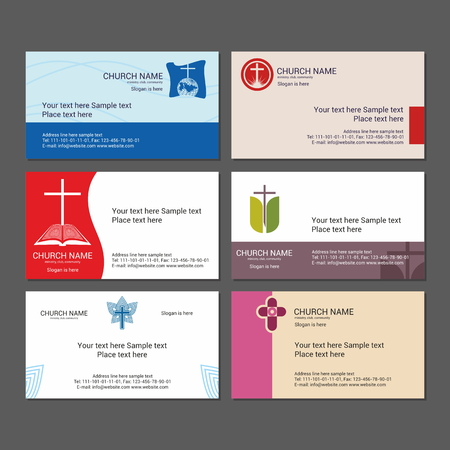 church: Set Christian business cards. For the church, the ministry, the club and the community. Illustration