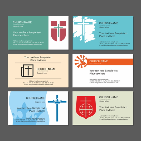 ministry: Set Christian business cards. For the church, the ministry, the club and the community. Illustration