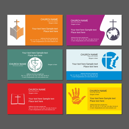religious: Set Christian business cards. For the church, the ministry, the club and the community. Illustration