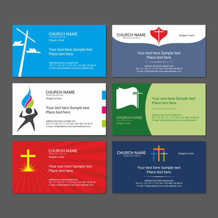 psalm: Set Christian business cards. For the church, the ministry, the club and the community. Illustration