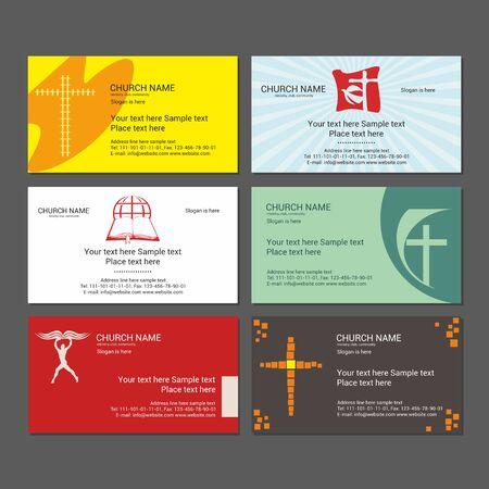 christian: Set Christian business cards. For the church, the ministry, the club and the community. Illustration