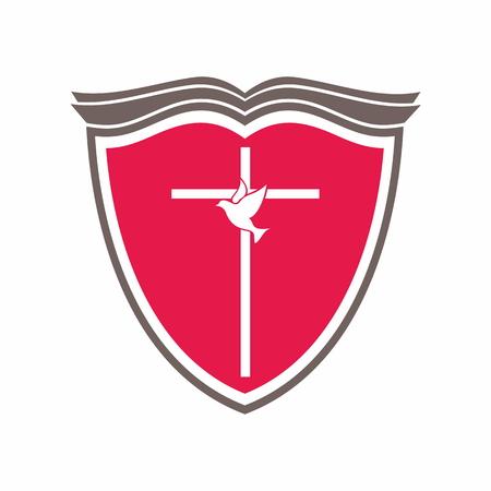 evangelism: Bible, cross and dove.