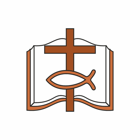 bible and cross: Church . Open bible, cross and fish Jesus Illustration