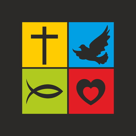 Church . Cross, dove, fish Jesus and heart