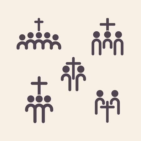 fellowship: Set of church logo. Christian fellowship icon