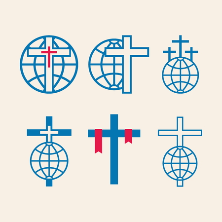 the heavens: Set of church logo. Crosses with globes, missions, icon
