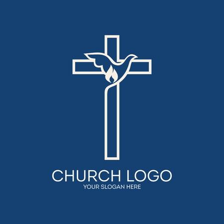 教会のロゴ。鳩、クロス、火炎、アイコン  イラスト・ベクター素材
