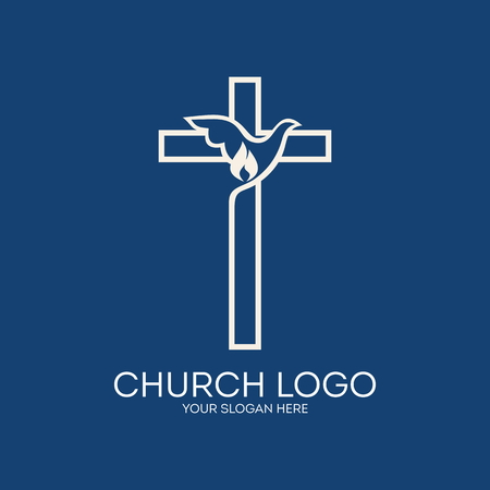 Church logo. Dove, cross, flame, icon