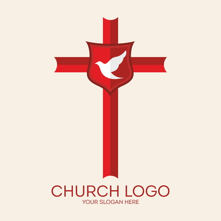 spirit: Church logo. Dove, cross, red, shield, icon, Christian