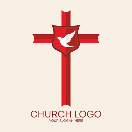 espiritu santo: logotipo de la iglesia. Paloma, cruz, rojo, escudo, icono, Christian Vectores