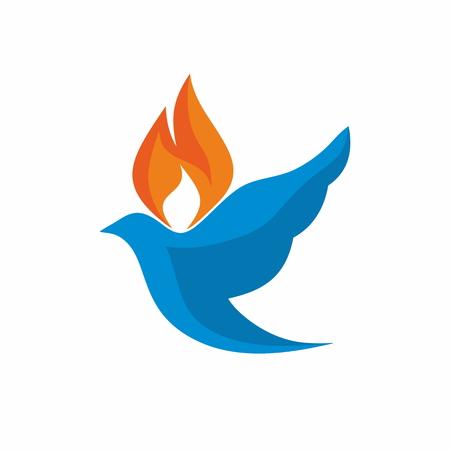 Logo Iglesia. Paloma con llamas icono Foto de archivo - 46606868