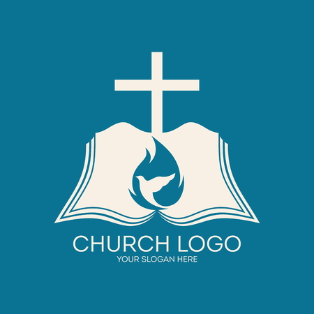 pray: Church logo. Cross, flame, Bible, icon