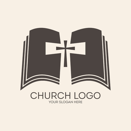 Church logo. Cross, bible, pages