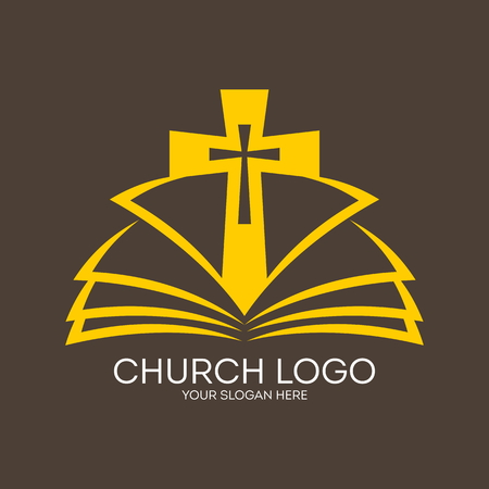 Church logo. Cross from the pages of a Bible icon Ilustração
