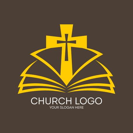 the church: Logo Iglesia. Cruce de las páginas de un icono de la Biblia Vectores