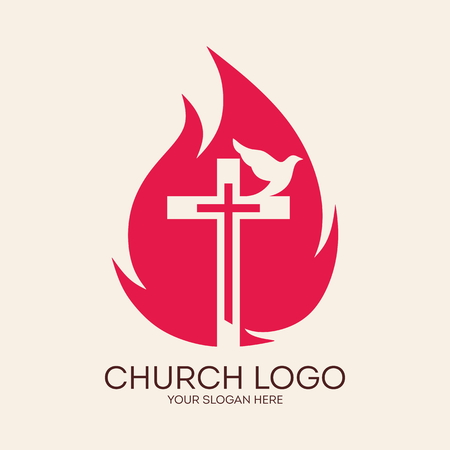 holy spirit: Church logo. Cross, flames, dove, Pentecost, symbol, icon, holy spirit, fire