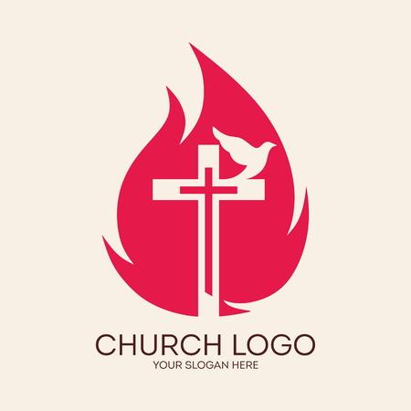 church worship: Church logo. Cross, flames, dove, Pentecost, symbol, icon, holy spirit, fire