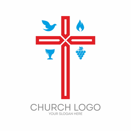blue flame: Church . Cross, dove, grapes, red, blue, flame, chalice Illustration