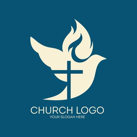 espiritu santo: Iglesia. Silueta cruzada en una paloma