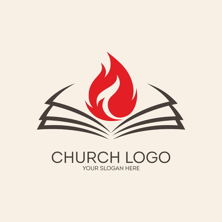 holy cross: Church . Flames on the pages of a Bible Illustration