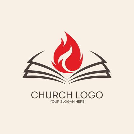 Kerk . Vlammen op de pagina's van een bijbel Stock Illustratie