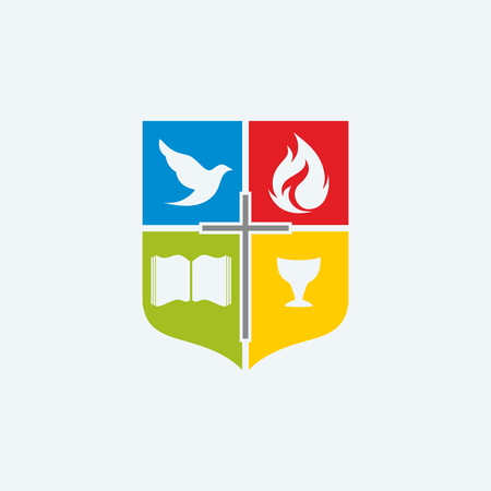 spirit: Church . Shield, cross, red, blue, red, green, color blocks, Bible, chalice, dove, flame