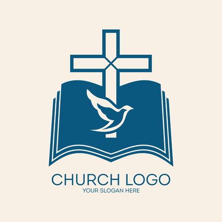 Kerk . Kruis, duif, bijbel, godsdienst, christendom, symbool, pictogram, blauw Stock Illustratie