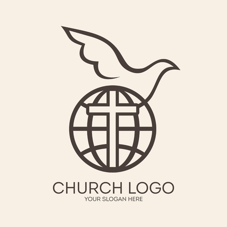 christianity: Church logo. Missions, globe, dove, cross, Christianity, icon