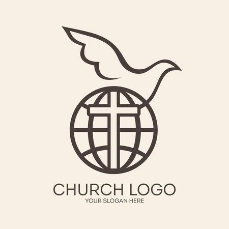 cristianismo: Logo Iglesia. Misiones, globo, paloma, cruz, cristianismo, icono