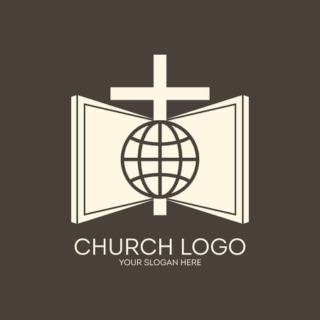 bible and cross: Church logo. Missions, brown, globe, Bible, cross, icon