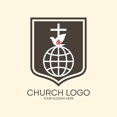 christianity: Church logo. Missions, globe, dove, cross, Christianity, icon, flame, shield Illustration