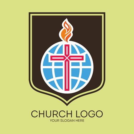 psalm: Church logo. Flame, shield, cross, globe, icon, symbol, missions