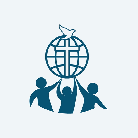 scripture: Church . Dove, fellowship, people, silhouettes, cross, globe, icon, symbol