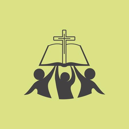 religion catolica: Iglesia . Membresía, biblia, la comunión, la gente, siluetas, cruz, globo, icono, símbolo