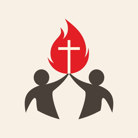 church people: Church . People holding up a flame with a cross Illustration