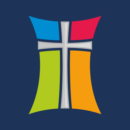 catholic church: Church . Cross stained glass window icon Illustration