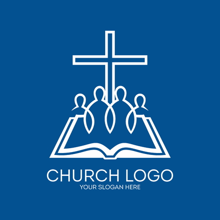 Church logo. United in Christ, group of people, bible, pages, cross Vettoriali