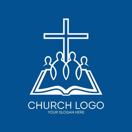 Kerk logo. United in Christ, een groep mensen, bijbel, pagina's, cross
