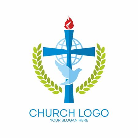 evangelism: Church . Round, dove, Holy Spirit and cross