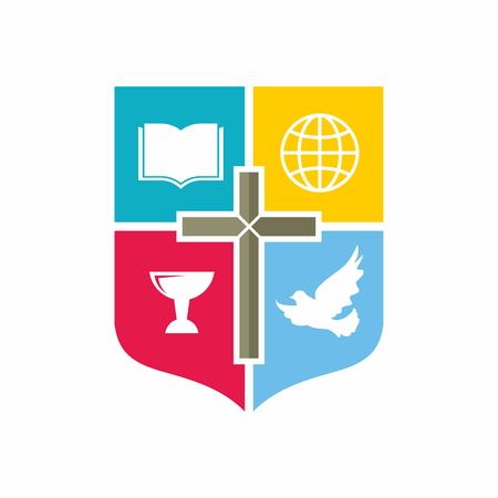 hopes: Church logo. Color blocks, chalice, cross, dove, Bible, globe, missions, shield, icon Illustration