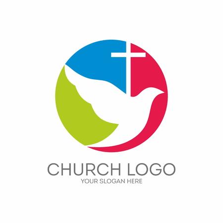 교회 로고. 라운드, 비둘기, 성령과 십자가 일러스트