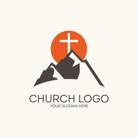 教会のロゴ。マウンテン、クロス、太陽  イラスト・ベクター素材