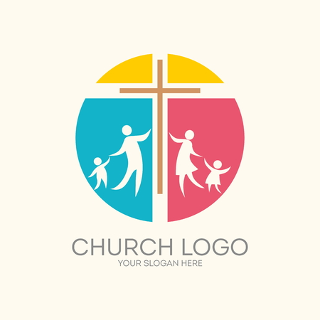 Church logo. Round, cross, family Vectores