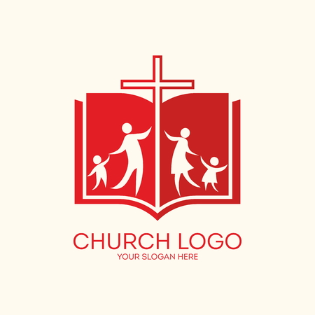bible and cross: Church . Family church, Bible, cross Illustration